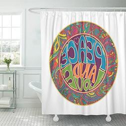 "Emvency Shower Curtain 72""x78"" Polyester Fabric Hippie Ornam"