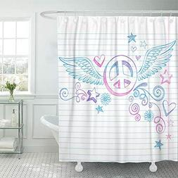 Emvency Shower Curtain Waterproof Polyester Decorative Colle