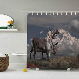 Colivy Shower curtains reindeer on the cliff mountains grey