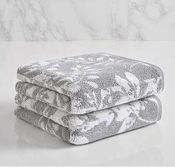 PH 2 Piece Silver Floral Block 16 X 28 Inches Hand Towel Set