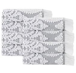 8 Piece Silver Graphic Jacquard Quick Dry 16 X 28 Inches Han
