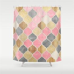 Weeya Silver Grey, Soft Pink, Wood Gold Moroccan Pattern Sho