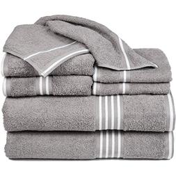 6 Piece Silver White Solid Color Towel Set With 27 X 53 Inch