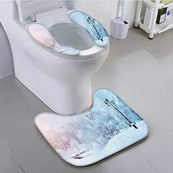 aolankaili Sit Toilet Cover Landscape with Frozen Leafless T