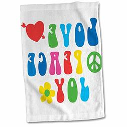 3dRose Sixties Love Joy with a Heart and a Peace Sign Towel,