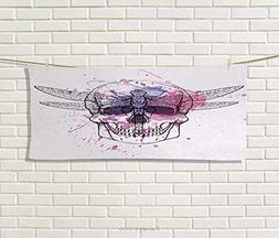 Anniutwo Skull,Hand Towel,Grunge Illustration of Human Skull