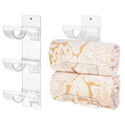 mDesign Sleek Modern Plastic Bathroom Wall Mount Towel Rack