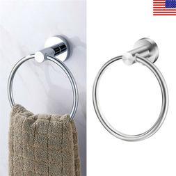 Small Bathroom Hand Towel Ring Bath Wall Mounted Rack Round