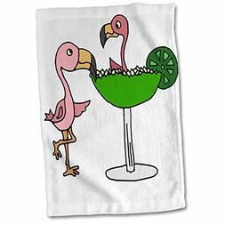 3D Rose Funny Pink Flamingo Bird with Lime Margarita Hand To