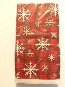 Snowflake Plaid Buffet Guest Hand Towels Napkins Party Paper