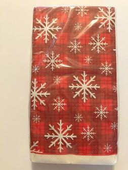 Snowflake Plaid Buffet Guest Hand Towels Napkins Party Paper