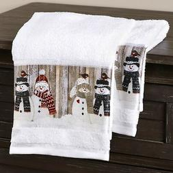 Snowman Hand Towels with Retro Look for Bathrooms, Kitchens