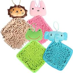 kilofly Soft Absorbent Fast-Dry Chenille Kids Hanging Hand T