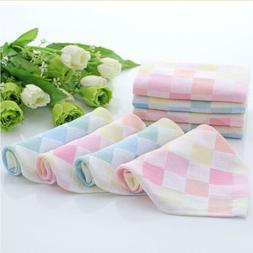 Soft Square Towels Cotton Gauze Plaid Towel Kids Bibs Daily