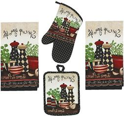 4 Piece Spice Up Your Life Kitchen Set - 2 Terry Towels, Ove