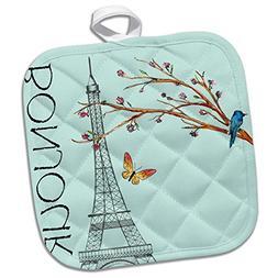 3dRose Spring in Paris Blue Bird Eiffel Tower Gold Butterfly