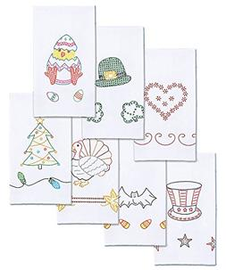 Stamped White Decorative Hand Towels 15X30 Set Of 7-Holidays