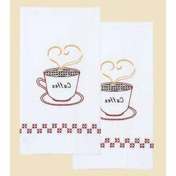"""Stamped White Decorative Hand Towel 17""""X28"""" One Pair-Coffee"""