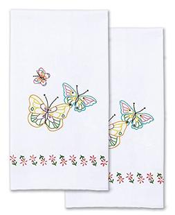 """Stamped White Decorative Hand Towel 17""""X28"""" One Pair-Flutter"""