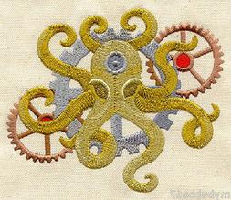 STEAMPUNK OCTOPUS SET OF 2 HAND TOWEL EMBROIDERED UNIQUE RAR