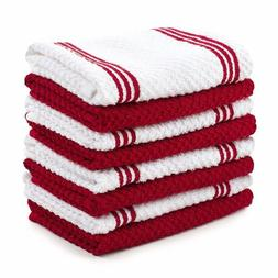 Sticky Toffee Cotton Terry Kitchen Dishcloth, Red, 8 Pack, 1