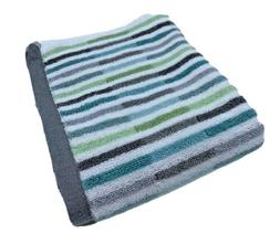 Peri Home striped hand towel 18 x 28 white gray aqua green M