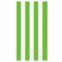 Striped Paper Guest Napkins, Lime Green, 16 Count