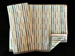 PERI - STRIPED PRINT - AQUA GREEN GREY WHITE - HAND TOWELS -