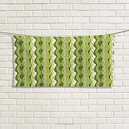 Chaneyhouse Striped,Hand Towel,Retro Wavy Leaf Lines with Di