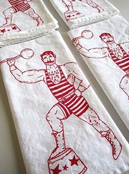 Oh, Little Rabbit Strong Man Screen Printed Flour Sack Kitch