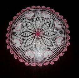 "Stunner Handmade Crochet Lace Doily ""HEARTS"", Multi-Color, R"