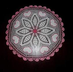 "Stunner Handmade Crochet Lace Doily""HEARTS"", Multi-Color, Ro"
