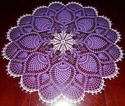 Stunner Real Handmade Crochet Tablecloth-Doily, PURPLE, Roun