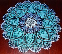 Stunner Real Handmade Crochet Tablecloth-Doily, BLUE, Round,
