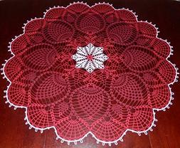 Stunner Real Handmade Crochet Tablecloth-Doily, RED, Round,