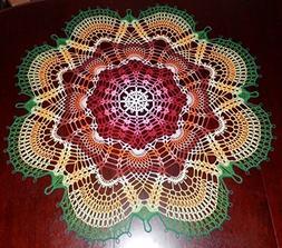 "Stunning Handmade Crochet Tablecloth Doily, 38"",""Rainbow Pea"