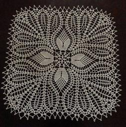"Stunning Real Handmade Crochet Doily,""TULIPS"", Ecru/Natural/"