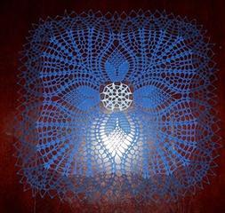 "Stunning Real Handmade Crochet Doily,""TULIPS"", Blue colors,"
