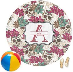 RNK Shops Sugar Skulls & Flowers Round Beach Towel