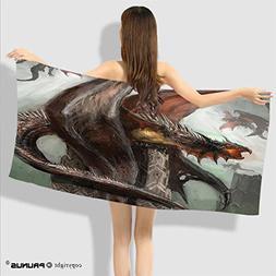 PRUNUS Summer Beach Hand Towel Dragons in Battle at War Fire