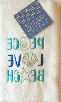 Summer Beach House Guest Hand Towels Set of 2 Embroidered Yo