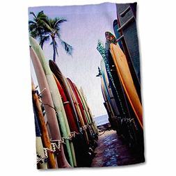 3dRose Surf - Surf Board - 12x18 Hand Towel