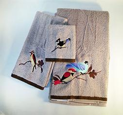 Set of 3 Tan Bird in Nature Towels - Bath Towel, Hand Towel