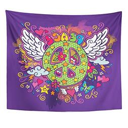 Emvency Tapestries Print 50x60 Inches Butterfly Peace Sign D