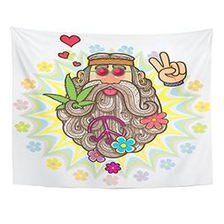 Emvency Tapestries Print 60x80 Inches Colorful Hippy Cartoon