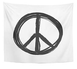 Emvency Tapestry Black Sign Grunge Peace Symbol Hand Doodle