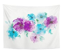 Emvency Tapestry Blue and Violet Flowers Watercolor Floral C