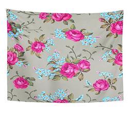 Emvency Tapestry Beautiful Floral Pattern Flower Elegance Wi