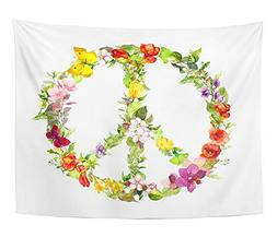 Emvency Tapestry Green Girly Peace Sign With Flowers for Day