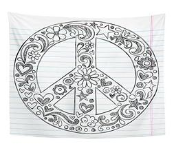Emvency Tapestry Love Sketchy Peace Sign Doodle With Flowers